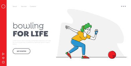 Female Character Playing Bowling Landing Page Template. Leisure, Active Lifestyle. Woman Wear Glove and Shoes Throw Ball Illusztráció