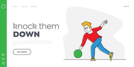 Active Lifestyle, Hobby Recreation Landing Page Template. Male Bowler in Casual Clothing Throw Ball in Bowling Alley Illusztráció