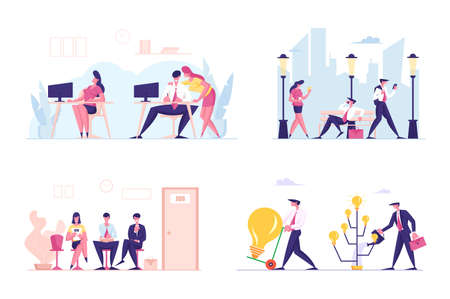 Set of Business Characters Communicate in Office, Walking on City Street, Hiring Job and Searching Creative Ideas, HR Illusztráció