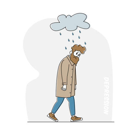 Depressed and Anxious Man with Alcohol Bottle Suffer of Depression and Anxiety Feel Frustrated Walking under Rainy Cloud