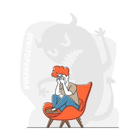 Schizophrenia Mental Disorder, Dissociative Identity. Female Character Crying Scare of Creepy Monster beside, Illness Illusztráció