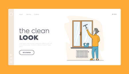 Male Character Household Activity Landing Page Template. Man Cleaning Home Wiping Window with Wet Rag and Scraper Chores