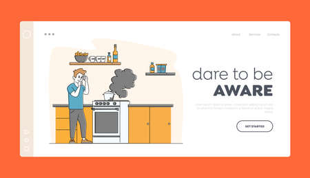 Household Character Every Day Routine Landing Page Template. Man at Oven with Burning Fire in Pan. Housekeeping Chores