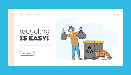 Man at Household Activities Landing Page Template. Character Throw Garbage into Recycling Container. Housekeeping Duties Ilustração