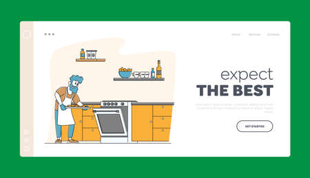 Culinary Experience, Housekeeping Landing Page Template. Duties and Home Chores. Man Cooking Bake Household Activities Ilustração