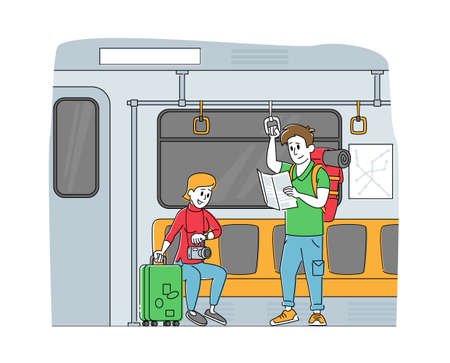 People Going by Subway Train. Tourist Characters with Luggage and Map in Underpass Transportation. Passengers in Metro Ilustração