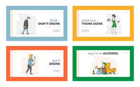 Alcohol Addiction Landing Page Template Set. Characters Pernicious Habits Addictions and Substance Abuse, Drunk People
