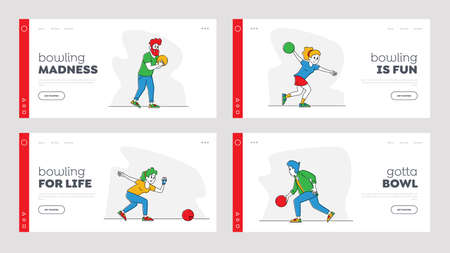 Characters Playing Bowling Landing Page Template Set. Men and Women Throw Ball on Lane, People Leisure, Active Lifestyle