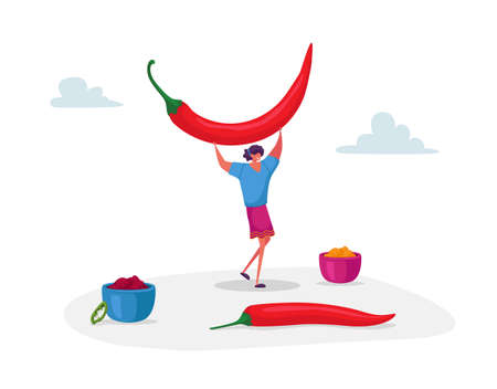 Young Positive Woman Holding Huge Red Chili Jalapeno Pepper above Head and Bowls with Meal around, Spicy Seasoning Dish