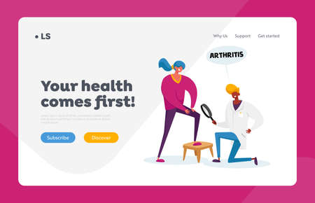 Patellar Joint Disease, Healthcare Landing Page Template. Doctor Arthrologist Character Watch on Patient Arthritis Knee Ilustração