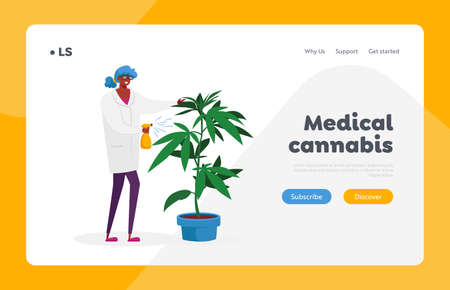 Alternative Herbal Medicine Landing Page Template. Woman Scientist Character Care of Hemp Plant. Medical Cannabis Recipe Ilustração