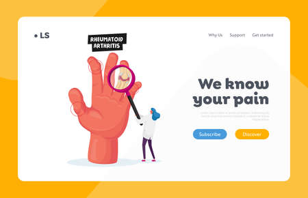 Rheumatoid Arthritis Healthcare Landing Page Template. Tiny Doctor Looking on Huge Hand with Inflamed Finger Joints