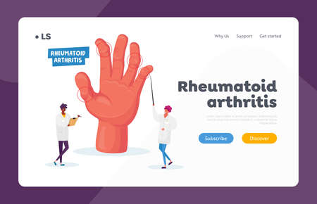 Rheumatoid Arthritis Landing Page Template. Doctor Arthrologist Pointing on Hand with Joints Disease, Medical Concilium