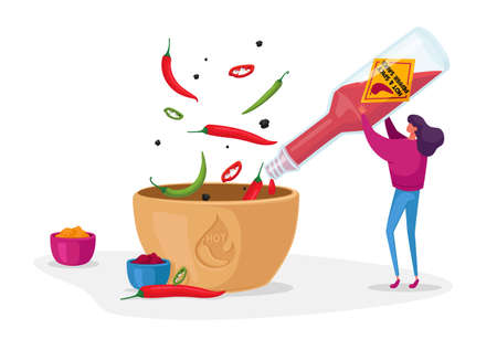 Woman Pouring Chilli Ketchup or Sauce from Glass Bottle to Bowl Cooking Spicy Meal. Seasoning Ingredient for Hot Food Ilustração