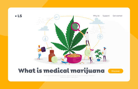 Marijuana Medicine Landing Page Template. Scientist Characters Growing Medical Cannabis Preparing Homeopathic Cannabis