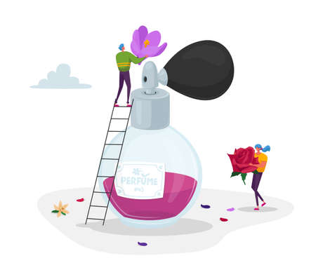 Perfumery Production. Tiny Perfumer Characters Holding Huge Flowers Ingredients for Creating New Perfume Composition Ilustração