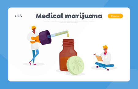 Light Drugs for Personal Use Landing Page Template. Scientist or Pharmacist Characters Produce Oil and Pills of Cannabis Ilustração