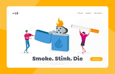 Tiny Characters Enjoying Smoking Addiction Landing Page Template. People Lighting Cigarette from Huge Burning Lighter