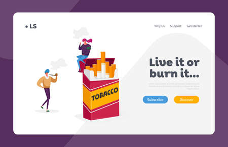 Characters Smoking Addiction and Bad Unhealthy Habit Landing Page Template. Girl Smoke Sit on Huge Cigarette Box, Pipe Ilustração