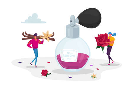 Fragrance, Toilet Water, Aroma, Perfumery. Tiny Perfumers Holding Huge Ingredients for Creating New Perfume Composition Ilustração