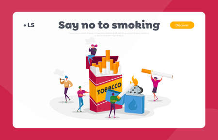 Smokers, Smoking Addiction Landing Page Template. People Smoke Cigarettes in Public Place. Addict Characters Bad Habit Ilustração