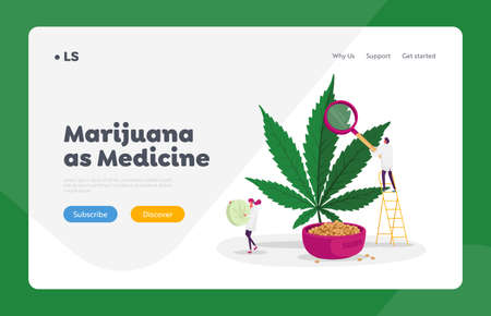 Pharmaceutical Cbd Oil Landing Page Template. Scientists Checking Hemp Plant and Seeds. Herbal Alternative Medicine