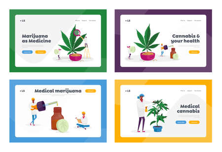 Marijuana Medicine Landing Page Template Set Scientist Grow Medical Cannabis Prepare Homeopathic Recipe for Personal Use