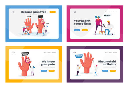 Rheumatoid Arthritis Landing Page Template Set. Doctor Examine Hand with Joints Disease, Patient with Diseased Knee Ilustração