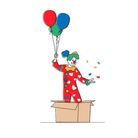 Female Clown Character Pop Up from Huge Carton Box with Balloons. Big Top Circus Show Artist in Funny Costume and Wig