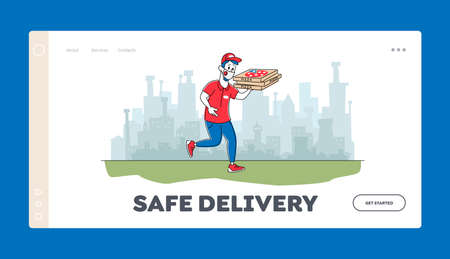 Air Pollution in City, Food Delivery at Coronavirus Pandemic Landing Page Template. Pizzeria Courier in Protective Mask