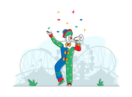 Animator Character in Funny Clown Suit, Wig and Neck Tie Yelling in Loudspeaker in Amusement Park. Big Top Tent Artist