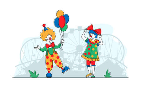 Clown Comedians in Amusement Park, Big Top Smiling Joker Male and Female Characters with Balloons. Jester, Circus Show