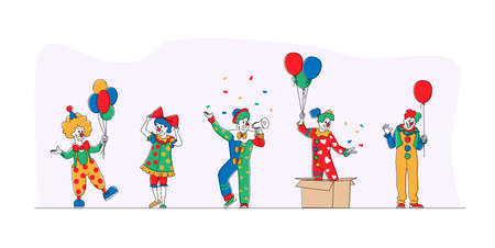 Big Top Circus Clowns. Funny Carnival Funsters Characters, or Jesters in Bright Costumes, Performing Show on Stage Ilustração