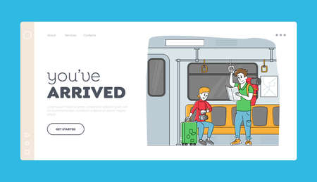 Passengers in Underground Ride Urban Public Transport Metro Landing Page Template. People Going by Subway Train