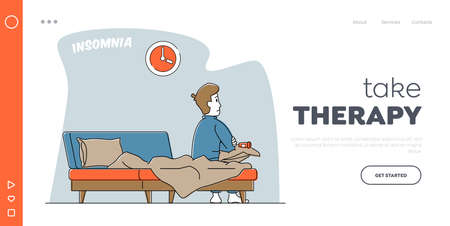 Insomnia Disorder Landing Page Template. Character Addict of Sleeping Pills. Man Can not Sleep Sit on Bed with Coffee