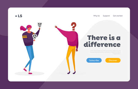 Hypocrisy, Fraud, Lie and Insincerity Landing Page Template. Woman Hold Masks Expressing Sadness and Happiness Emotions Illustration