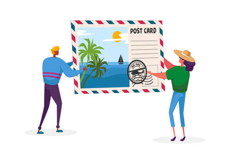 Tiny Characters Holding Huge Postcard with Tropical Beach and Palm Trees. Summer Time Vacation, Memory After Traveling
