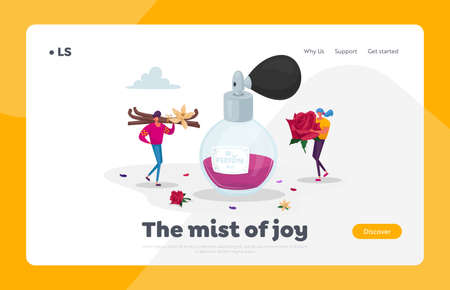 Fragrance, Aroma, Perfumery Landing Page Template. Tiny Perfumer Characters Holding Huge Ingredients for New Perfume Ilustración de vector