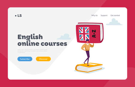 Grammar Test, Foreign Language Landing Page Template. Student or Teacher Holding Huge English Language Dictionary