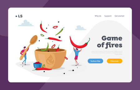 Characters Cook Hot Spicy Food Landing Page Template. Tiny Man and Woman Cooking Delicious Meal with Red and Green Chili