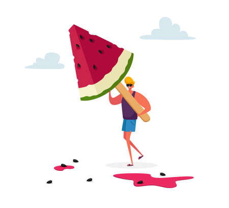 Tiny Male Character Carry Huge Watermelon Ice Cream  on Wooden Stick. Summer Delicious Sweet Dessert, Cold Treat Ilustração