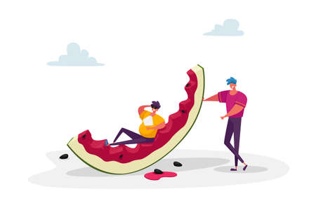 Summertime Leisure. Tiny Male Character with Huge Watermelon Enjoying Summer Vacation Holidays. People Eating, Relaxing Ilustração