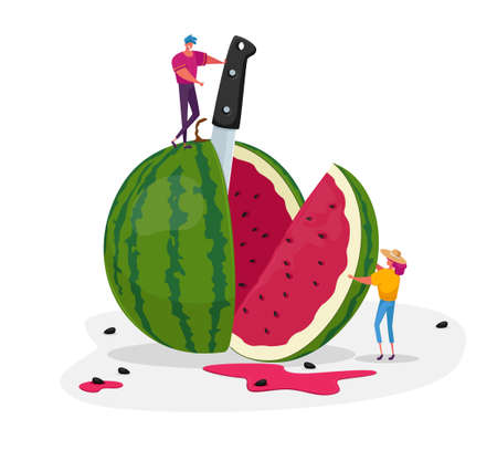 Tiny Characters Enjoying Refreshing of Huge Ripe Watermelon. Summer Time Food, Man and Woman Have Fun, Slicing Melon