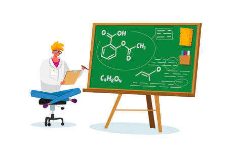 Drugs Production, Health Care and Medicine Industry. Pharmacist Sitting at Chalkboard with Medication Chemical Formula Ilustração