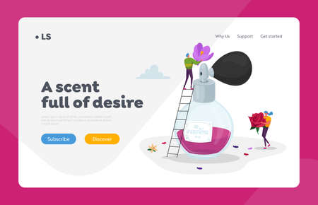 Perfumery Production Landing Page Template. Tiny Perfumer Characters Holding Huge Flowers for Creating Floral Perfume
