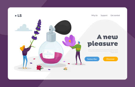 Aroma Composition. Perfumery Creation Landing Page Template. Perfumer Characters Create Perfume Fragrance, Scent Flavor
