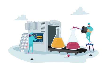 Pharmaceutical Industry Medical Drugs Production. Tiny Pharmacist Characters Drip Liquid in Huge Glass Beakers on Belt Banco de Imagens - 152858586