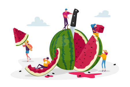 Tiny Characters Enjoying of Refreshing Huge Ripe Watermelon. Summer, Group of People Eating Fruits and Fruity Ice Cream