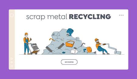 Metallic Junk Reuse, Scrap Metal Landing Page Template. Worker Characters Pulling Old Washing Machine to Scrapmetal Dump