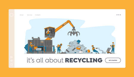 Scrapmetal Recycle Industry Landing Page Template. Characters Bring and Recycling Old Metal Things and Broken Technique